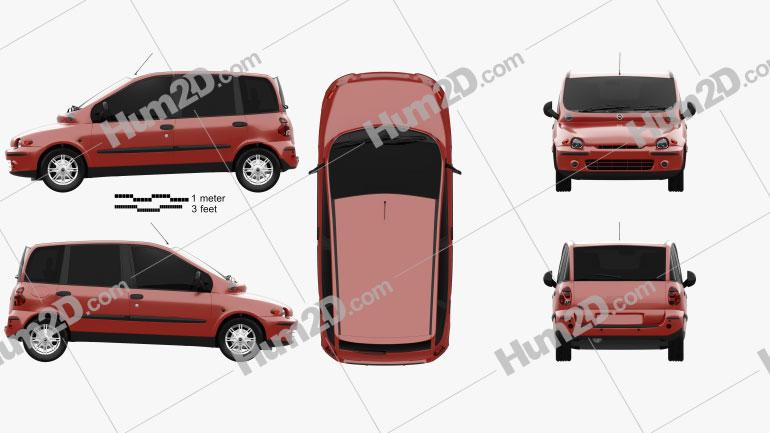 Fiat Multipla 1998 Clipart Image