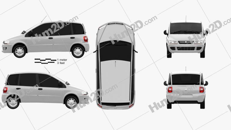 Fiat Multipla 2006 Clipart Image