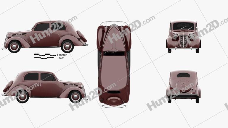 Fiat 1100 B 1949 Clipart Bild