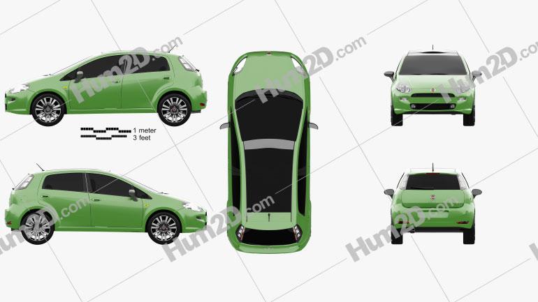 Fiat Punto TwinAir 5-door 2012 car clipart