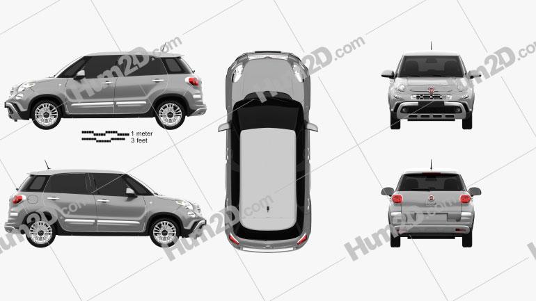 Fiat 500L Cross 2017 Clipart Image