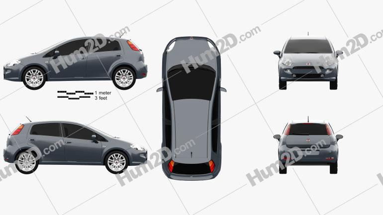 Fiat Punto 5-door 2012 car clipart