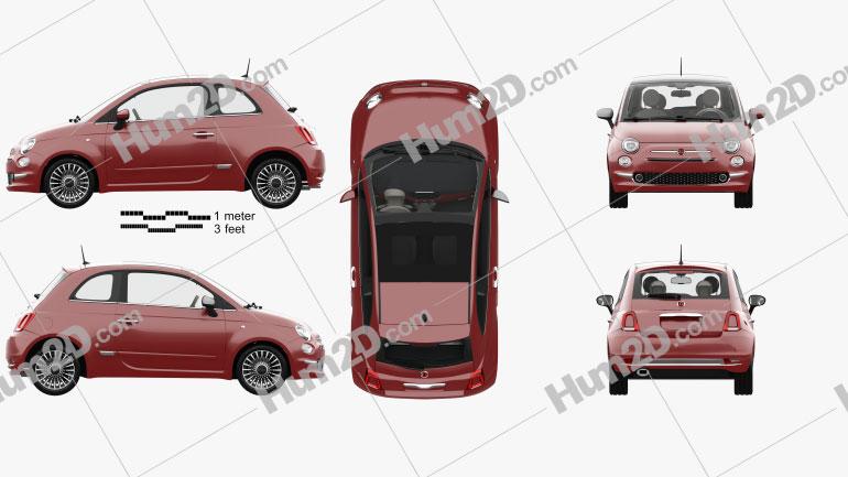 Fiat 500 com interior HQ 2015 car clipart