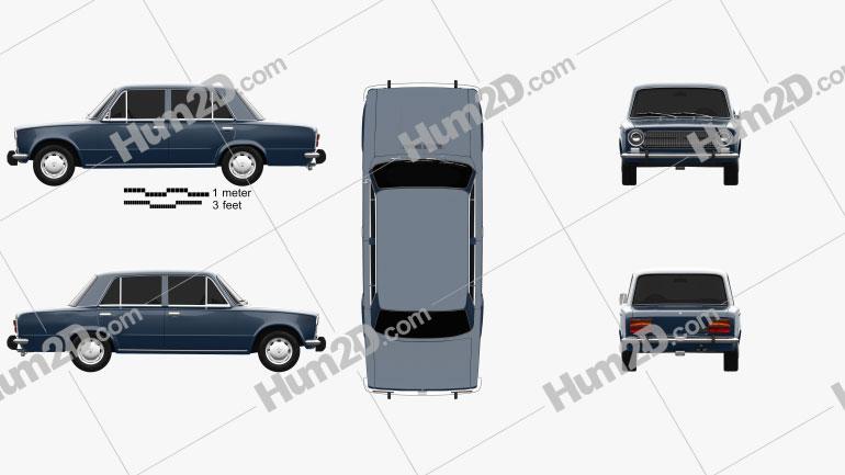 Fiat 124 1972 car clipart