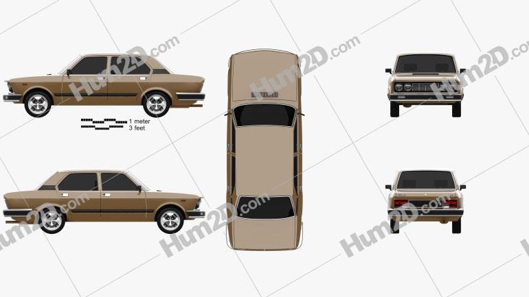 Fiat 132 1977 car clipart