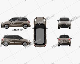 Fiat 500L hatchback 2017 car clipart