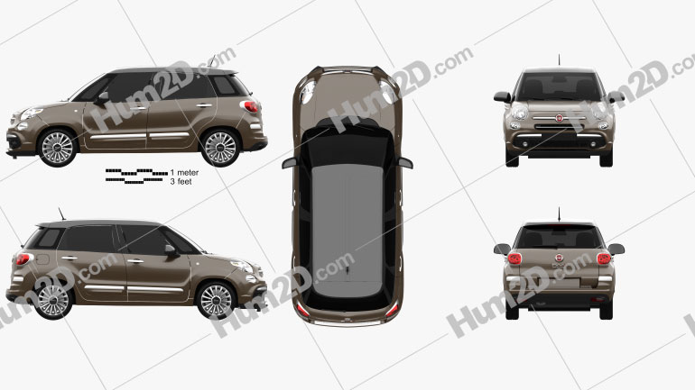 Fiat 500L hatchback 2017 Clipart Image