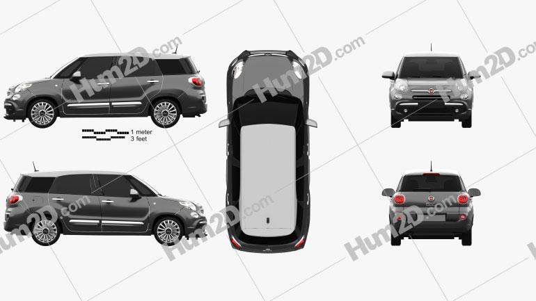 Fiat 500L Wagon 2017 Clipart Image