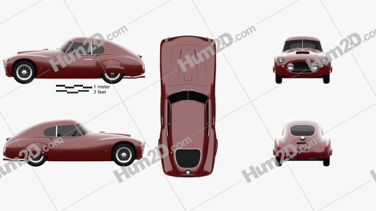 Fiat 8V coupe 1952 car clipart