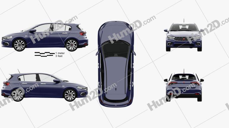 Fiat Tipo hatchback com interior HQ 2017 car clipart