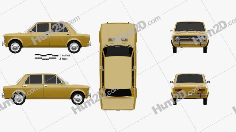 Fiat 128 1969 car clipart