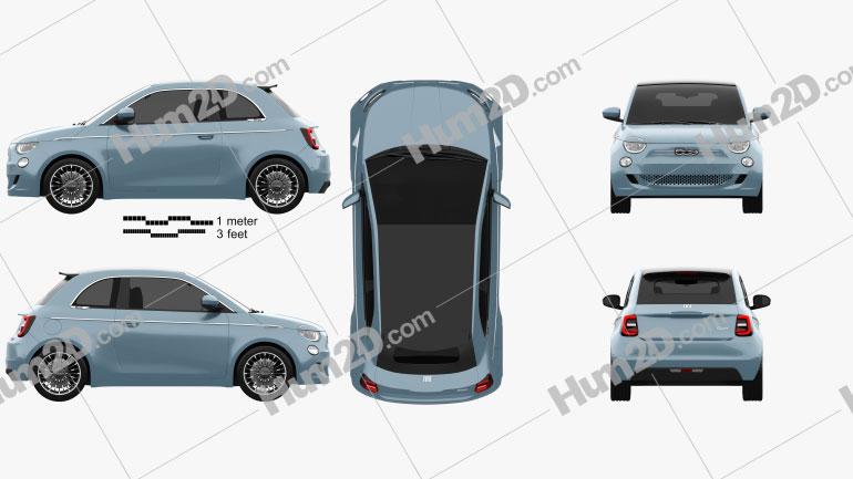 Fiat 500 la Prima France Cabriolet 2020 car clipart