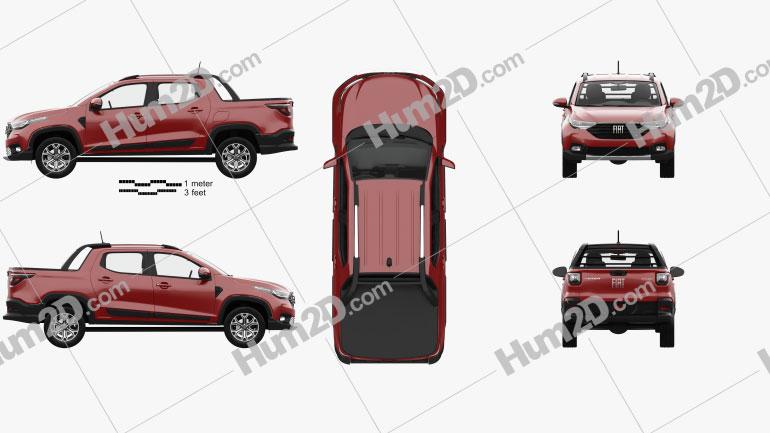 Fiat Strada CD Volcano with HQ interior 2020 car clipart