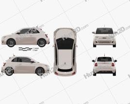 Fiat 500 3+1 2020 car clipart