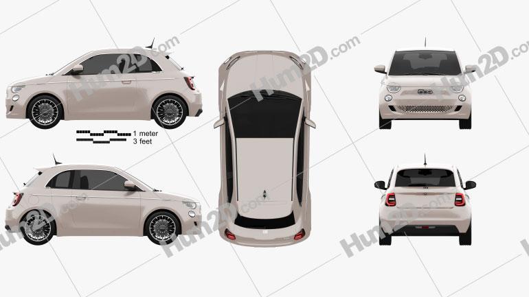 Fiat 500 3+1 2020 Clipart Image