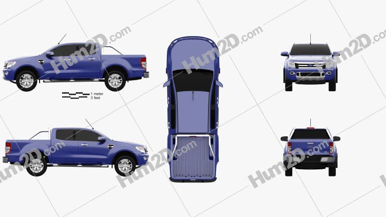 Ford Ranger (T6) 2011 Clipart Image
