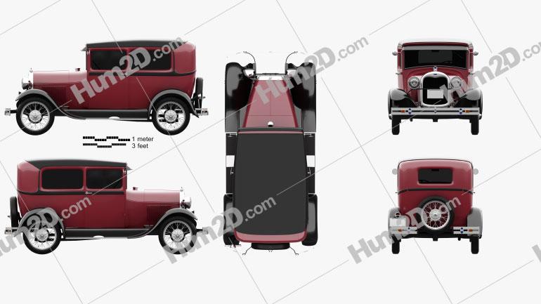 Ford Model A Tudor 1929 car clipart