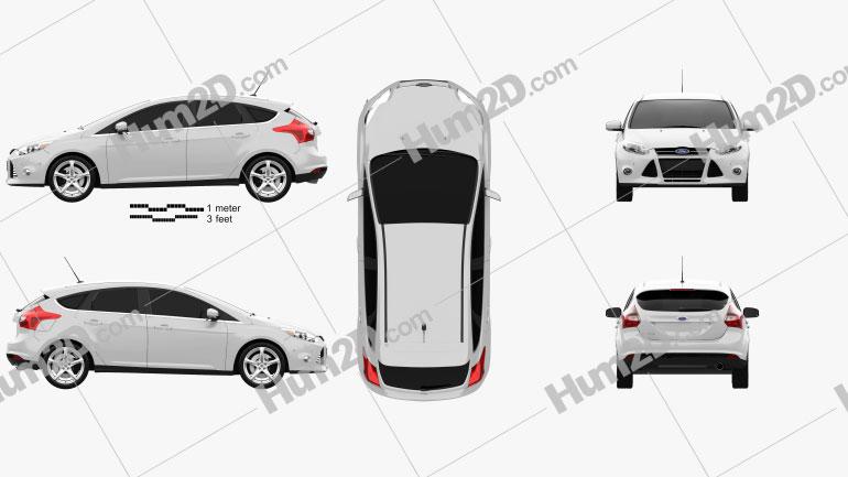 Ford Focus Hatchback 2011 car clipart