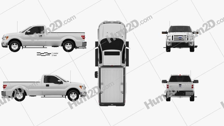 Ford F-150 XLT Regular Cab 8-foot Box 2011 car clipart