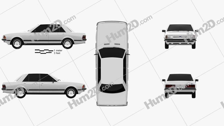 Ford Granada Sedan 1982 Clipart Image