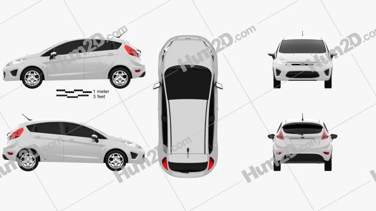 Ford Fiesta Hatchback 5-door (US) 2012 Clipart Image