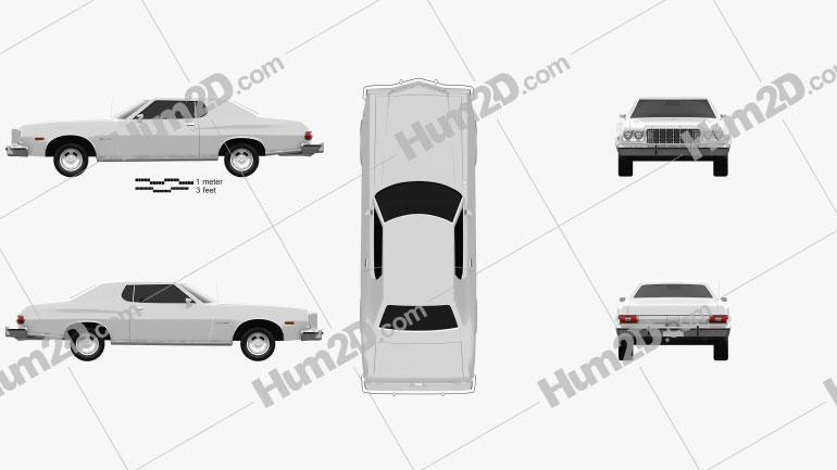 Ford Gran Torino hardtop 1974 car clipart