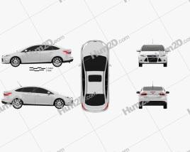 Ford Focus Sedan Titanium 2012 car clipart