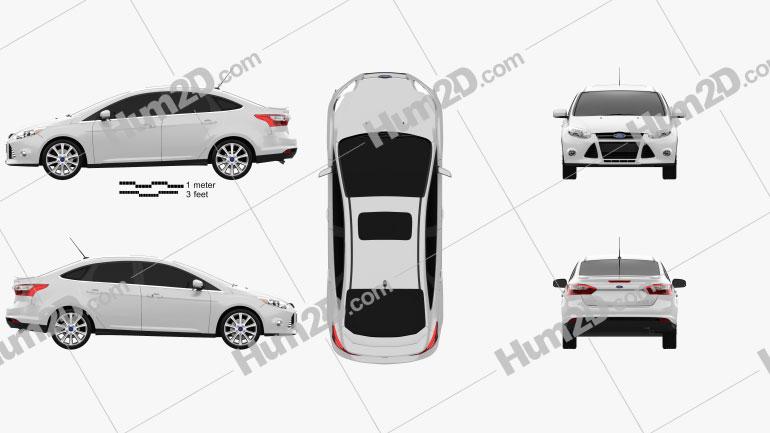 Ford Focus Sedan Titanium 2012 Clipart Bild