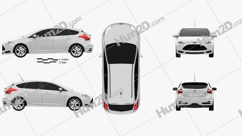 Ford Focus ST 2012 car clipart
