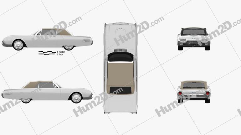 Ford Thunderbird 1961 car clipart