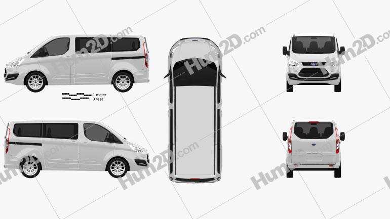 Ford Tourneo Custom SWB 2012 Clipart Image