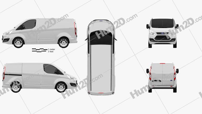 Ford Transit Custom SWB 2012 Clipart Image