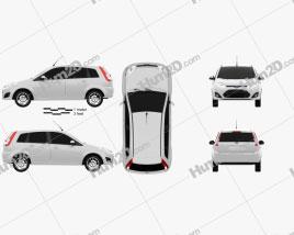 Ford Fiesta Rocam hatchback (Brazil) 2012 car clipart