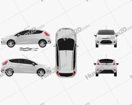 Ford Fiesta hatchback 3-door (EU) 2012 car clipart