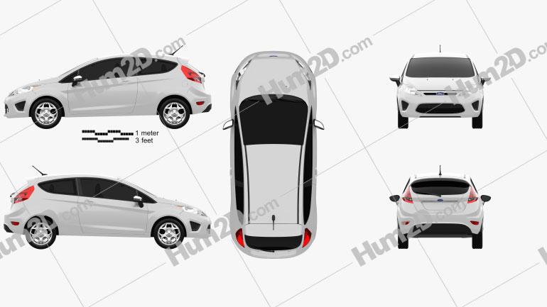 Ford Fiesta hatchback 3-door (US) 2012 car clipart