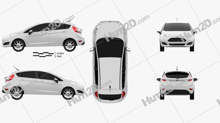 Ford Fiesta hatchback 5-door (EU) 2013 Clipart Image
