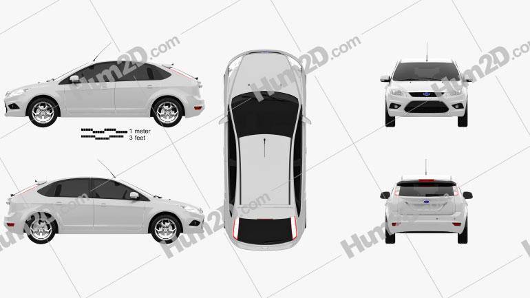 Ford Focus hatchback 5-door 2009 car clipart