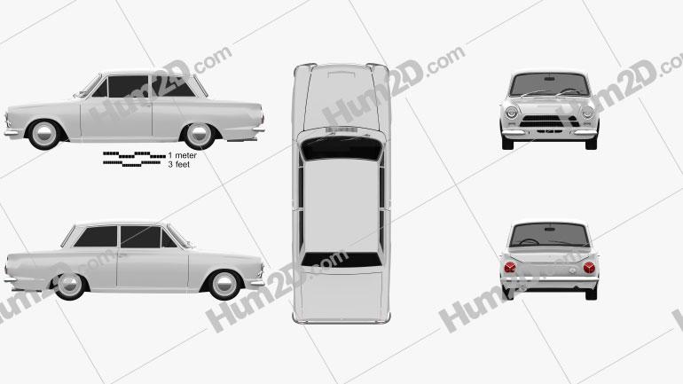 Ford Lotus Cortina Mk1 1963 Clipart Image