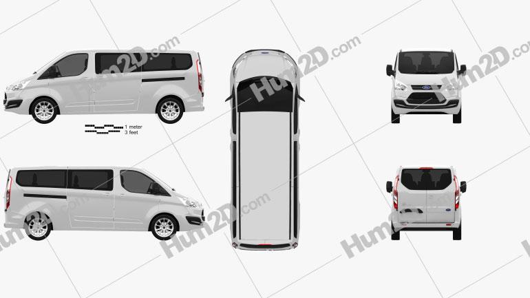 Ford Tourneo Custom LWB 2013 Clipart Image