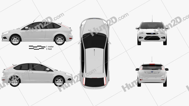 Ford Focus hatchback 3-door 2008 Clipart Image