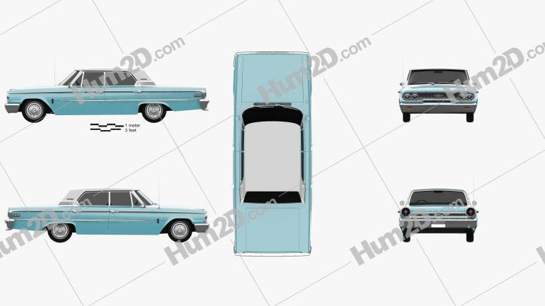 Ford Galaxie 500 hardtop 1963 car clipart