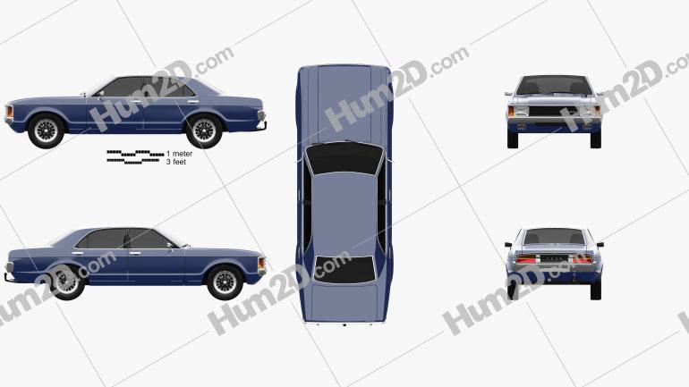 Ford Granada sedan EU 1972 Clipart Image