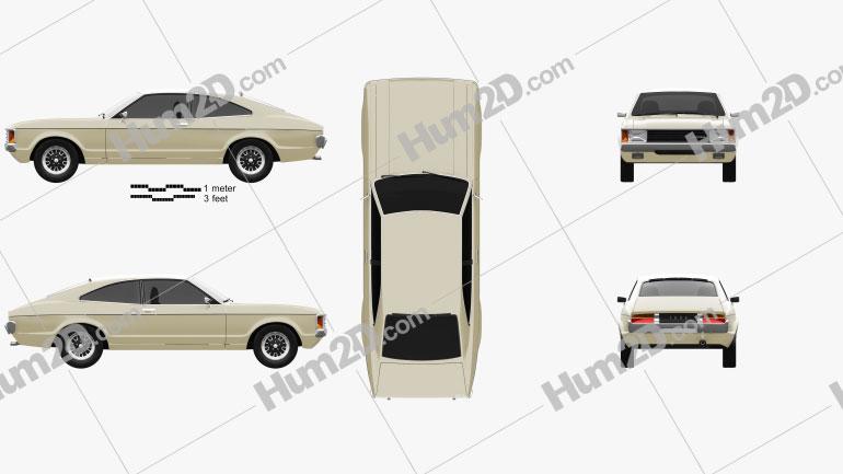 Ford Granada coupe EU 1972 Clipart Image