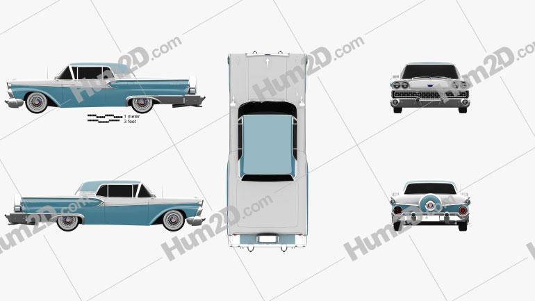 Ford Fairlane 500 Galaxie Skyliner 1959 car clipart