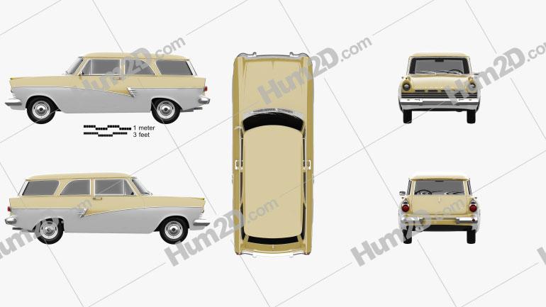 Ford Taunus P2 17M kombi 1957 car clipart