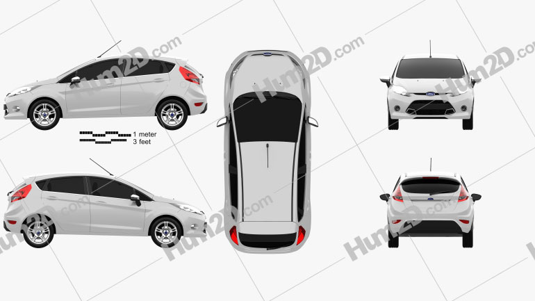 Ford Fiesta Zetec de 5 portas hatchback 2012 Imagem Clipart