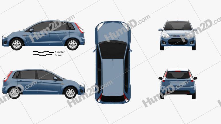 Ford Figo (Ikon Hatch) 2012 Clipart Image