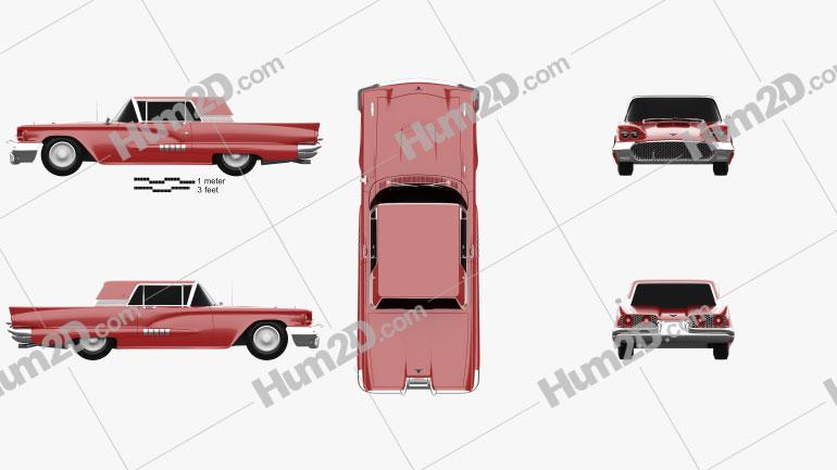 Ford Thunderbird Sport Coupe 1958 car clipart