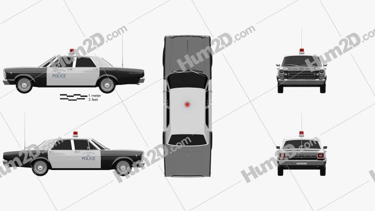 Ford Galaxie 500 Police 1966 car clipart