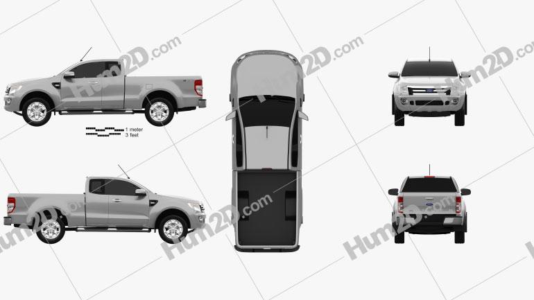 Ford Ranger Super Cab 2011 Clipart Image